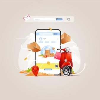 Plat ontwerp app voor goederenbezorging