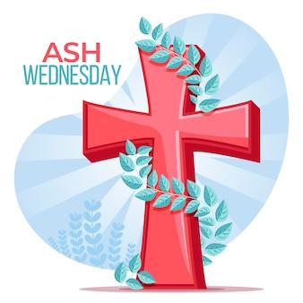 Plat ontwerp aswoensdag geïllustreerd kruis