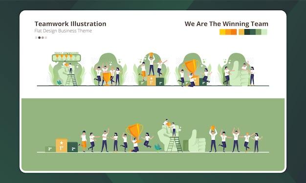 Plat ontwerp bij het verzamelen van teamwerkillustratie, wij zijn het winnende team