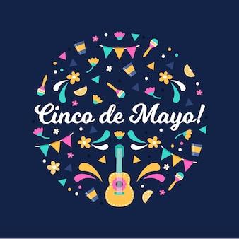 Plat ontwerp cinco de mayo evenement