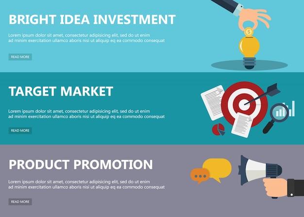 Plat ontwerp concepten voor de markt
