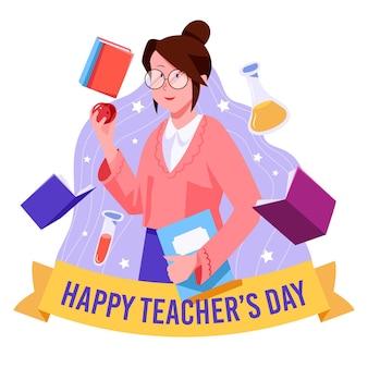 Plat ontwerp dat lerarendag viert