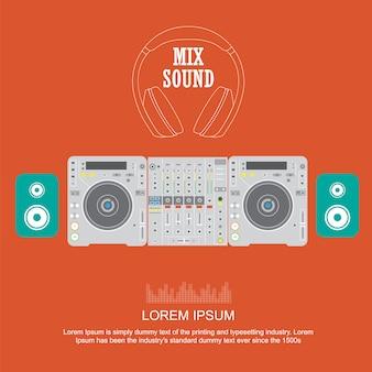 Plat ontwerp dj mixer sound draaitafels