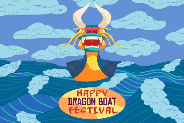 Plat ontwerp drakenbootbehang
