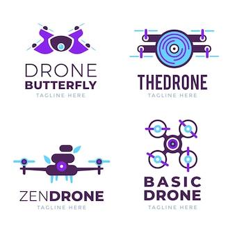 Plat ontwerp drone logo's pack