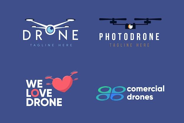 Plat ontwerp drone-logopakket