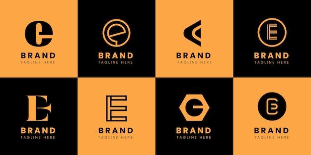 Plat ontwerp e-logo sjablonenpakket