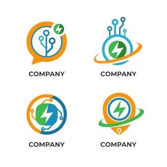 Plat ontwerp elektronica logo set