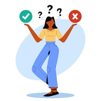 Plat ontwerp ethisch dilemma met vrouw