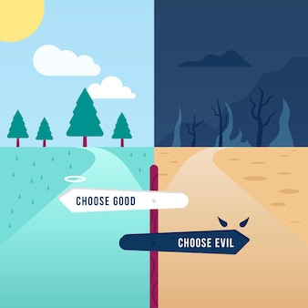 Plat ontwerp ethisch dilemma met wegen