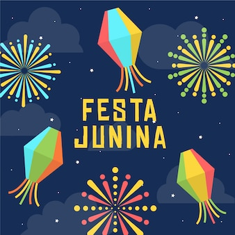 Plat ontwerp festa junina behang