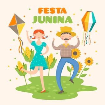 Plat ontwerp festa junina en zonnebloem
