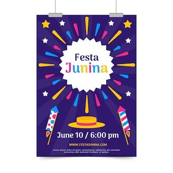Plat ontwerp festa junina flyer sjabloon thema