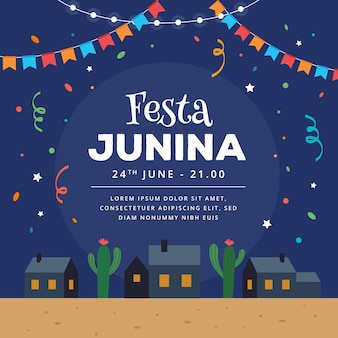 Plat ontwerp festa junina in de nacht met confetti