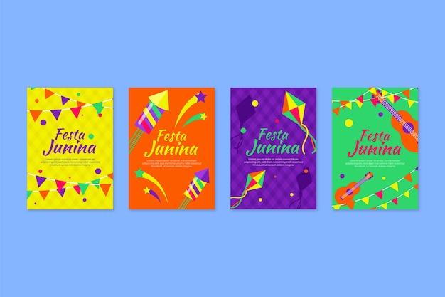 Plat ontwerp festa junina kaartcollectie ontwerp