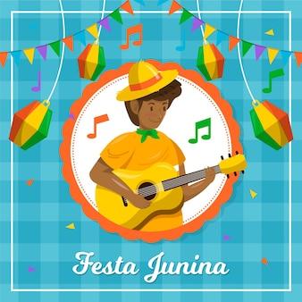 Plat ontwerp festa junina karakter gitaar spelen