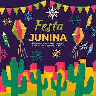 Plat ontwerp festa junina thema