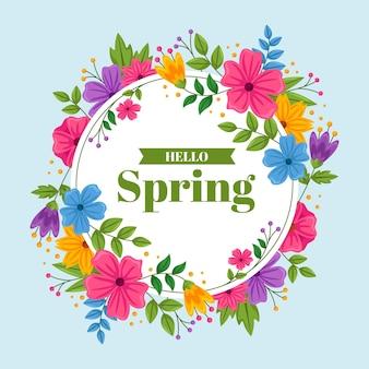 Plat ontwerp gedetailleerd lente bloemen frame