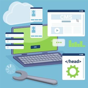 Plat ontwerp geïllustreerde cms-laptop