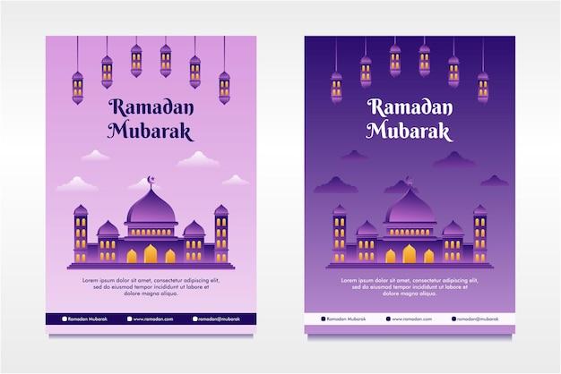 Plat ontwerp geïllustreerde ramadan mubarak flayer ontwerpsjabloon