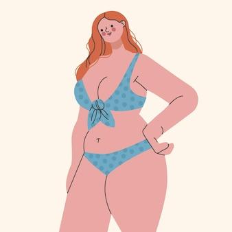 Plat ontwerp geïsoleerd meisje in een bikini