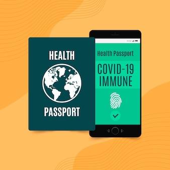 Plat ontwerp gezondheidspaspoort voor mensen met een covid-immuunsysteem