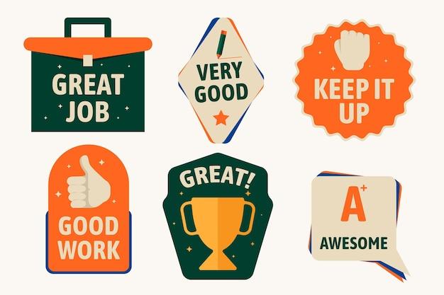 Plat ontwerp goed werk en geweldig stickerpakket