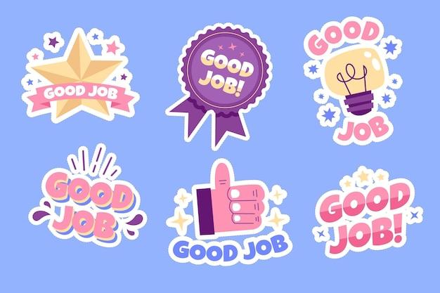 Plat ontwerp goed werk en geweldige stickercollectie