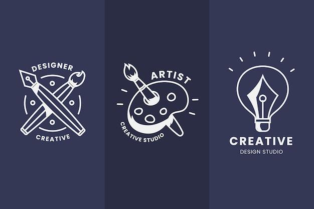 Plat ontwerp grafisch ontwerper logo pack