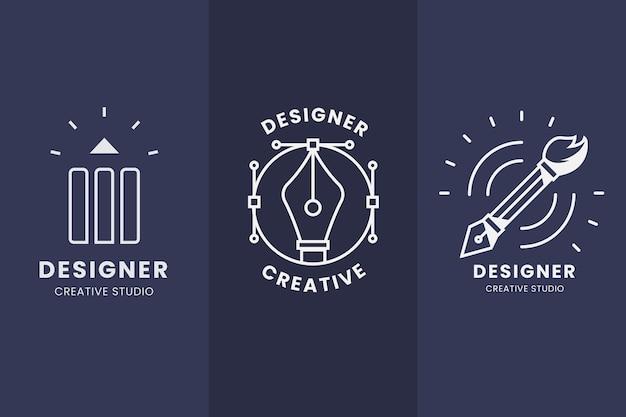Plat ontwerp grafisch ontwerper logo set