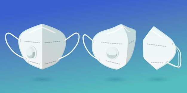 Plat ontwerp kn95 gezichtsmasker in verschillende perspectieven collectie
