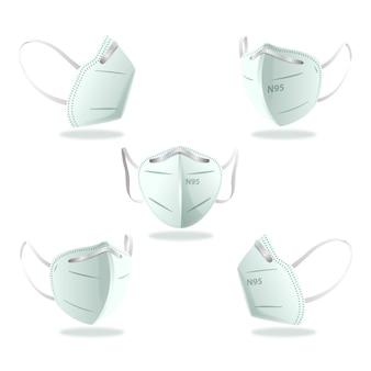 Plat ontwerp kn95 gezichtsmasker in verschillende perspectieven