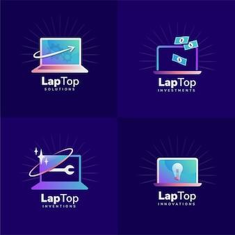 Plat ontwerp laptop-logo