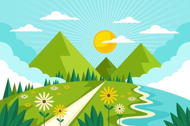 Plat ontwerp lente landschap geïllustreerd