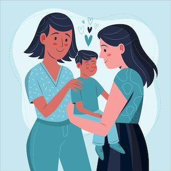 Plat ontwerp lesbisch koppel met hun kind