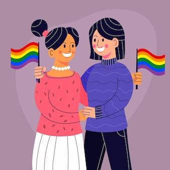 Plat ontwerp lesbisch koppel met lgbt-vlag geïllustreerd