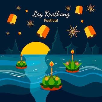 Plat ontwerp loy krathong-evenement