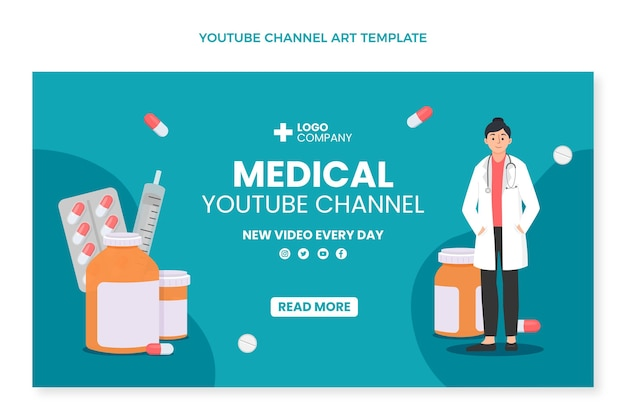 Plat ontwerp medisch youtube-kanaal