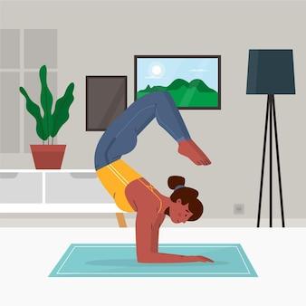 Plat ontwerp mensen doen yoga-stijl