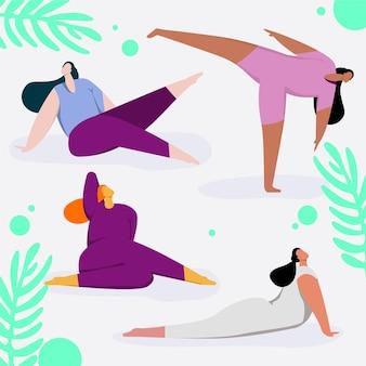 Plat ontwerp mensen doen yoga