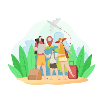 Plat ontwerp met toeristische leeskaart en populaire bezienswaardigheden
