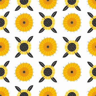 Plat ontwerp minimaal zonnebloempatroon