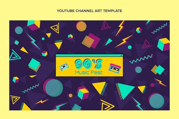 Plat ontwerp nostalgisch muziekfestival youtube-kanaal