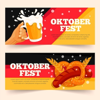 Plat ontwerp oktoberfest banners pack