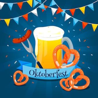 Plat ontwerp oktoberfest bierfestival met pretzels