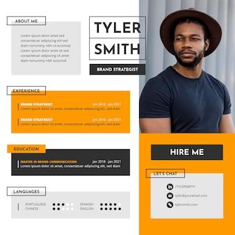 Plat ontwerp online cv Gratis Vector