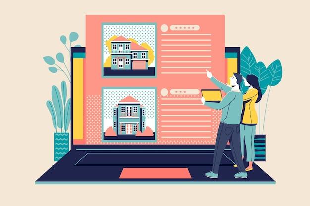 Plat ontwerp onroerend goed zoeken met laptop