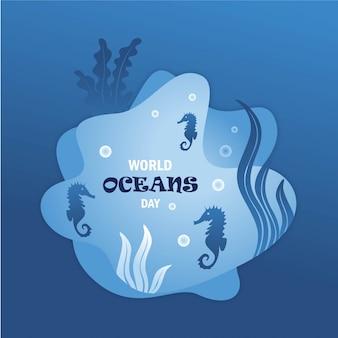 Plat ontwerp op de zeebodem om wereldoceaandag te vieren met blauwe basisachtergrond.