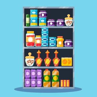 Plat ontwerp pantry met potten en flessen