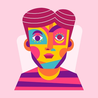Plat ontwerp portret met abstracte vormen